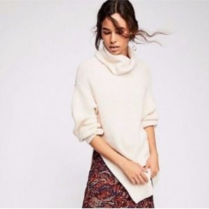 Free people eleven cable knit cowl neck sweater